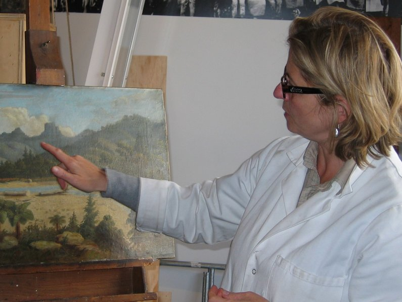 A project sponsored by the Friends of the Turnbull Library was the conservation of oil paintings in the Turnbull Library